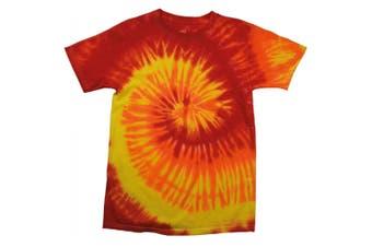 Colortone Womens/Ladies Rainbow Tie-Dye Short Sleeve Heavyweight T-Shirt (Blaze) (2XL)