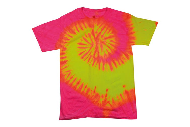 Colortone Womens/Ladies Rainbow Tie-Dye Short Sleeve Heavyweight T-Shirt (Fluorescent Swirl) (S)