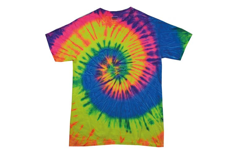 Colortone Womens/Ladies Rainbow Tie-Dye Short Sleeve Heavyweight T-Shirt (Neon Rainbow) (M)