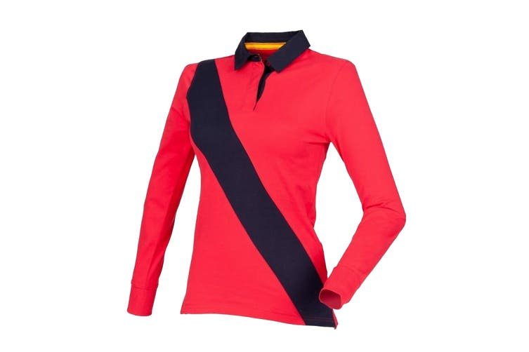 Front Row Womens/Ladies Diagonal Stripe House Rugby Polo Shirt (Red/ Navy/ Navy) (L)