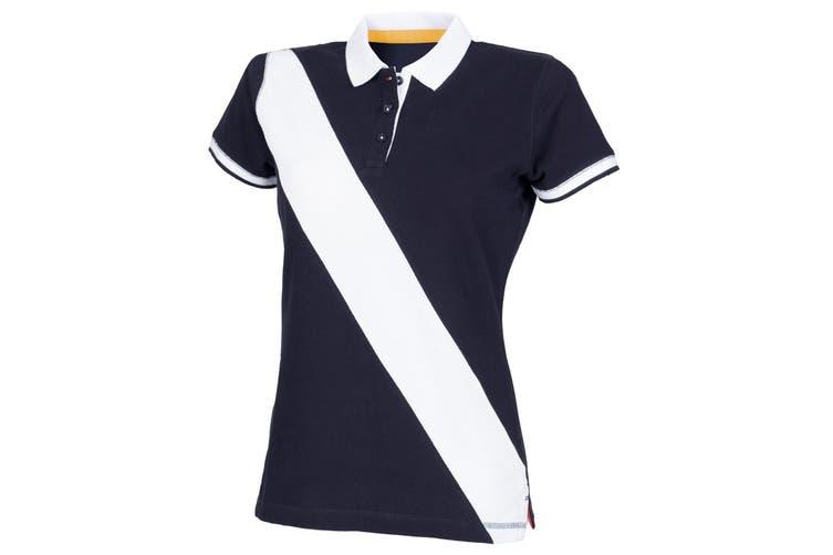 Front Row Womens/Ladies Diagonal Stripe House Slim Fit Polo Shirt (Navy/ White) (2XL)