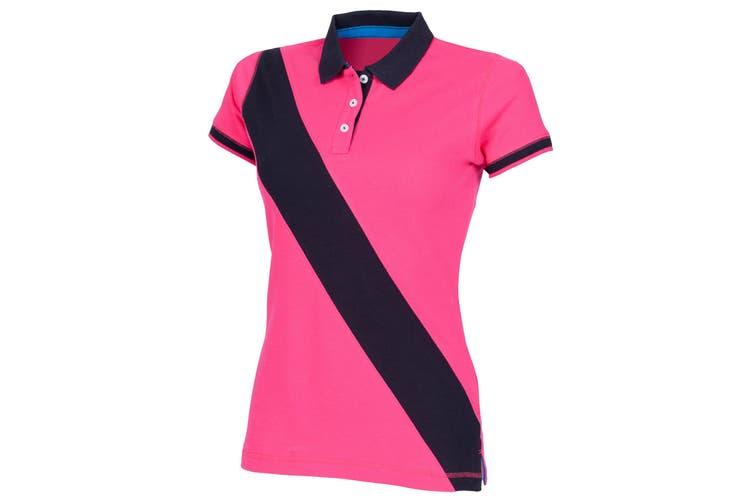 Front Row Womens/Ladies Diagonal Stripe House Slim Fit Polo Shirt (Bright Pink/ Navy) (XL)