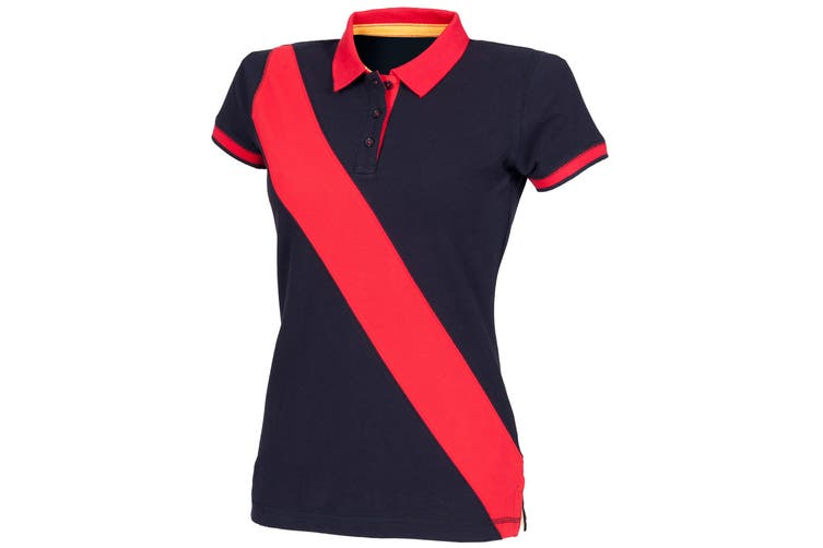 Front Row Womens/Ladies Diagonal Stripe House Slim Fit Polo Shirt (Navy/ Red) (M)