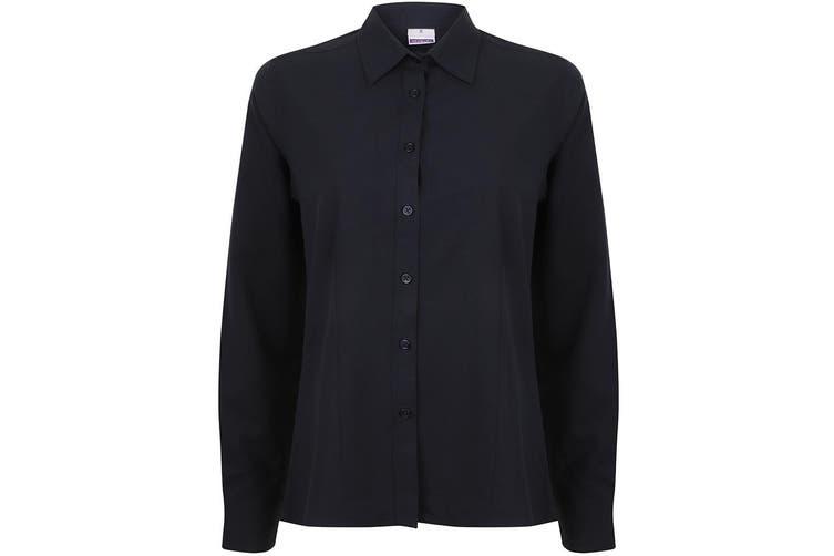 Henbury Womens/Ladies Wicking Long Sleeve Work Shirt (Navy) (L)
