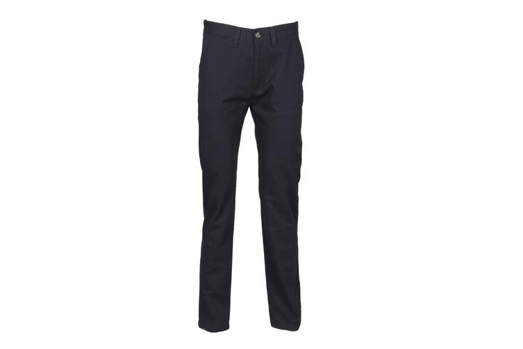 Henbury Mens 65/35 Flat Fronted Chino Trousers (Navy) (30R)