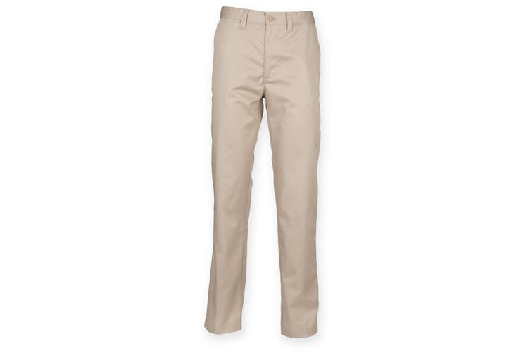 Henbury Mens 65/35 Flat Fronted Chino Trousers (Stone) (30R)