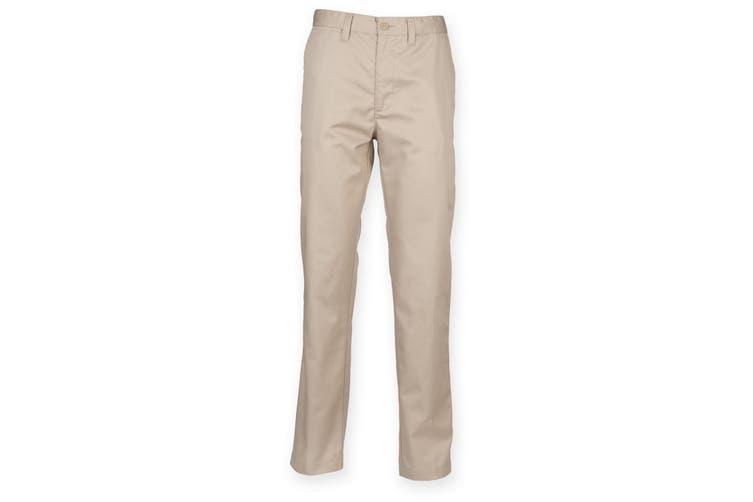 Henbury Mens 65/35 Flat Fronted Chino Trousers (Stone) (42U)