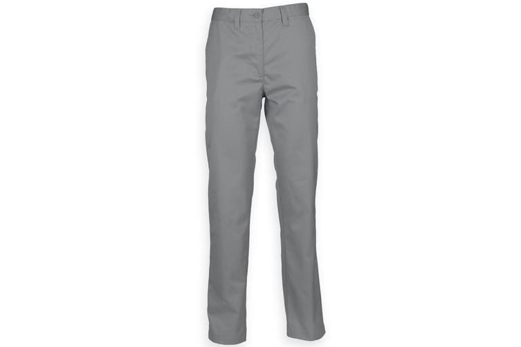 Henbury Mens 65/35 Flat Fronted Chino Trousers (Steel Grey) (32L)