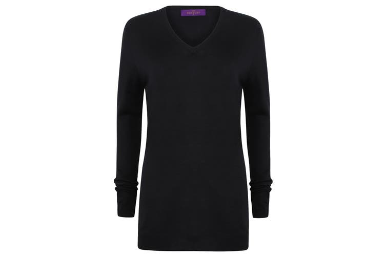Henbury Womens Cashmere Touch Acrylic V-Neck Long Sleeve Jumper / Knitwear (Navy) (L)