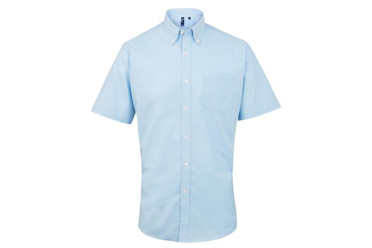 Premier Mens Signature Oxford Short Sleeve Work Shirt (Light Blue) (15)