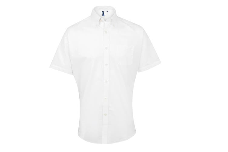 Premier Mens Signature Oxford Short Sleeve Work Shirt (White) (14.5)