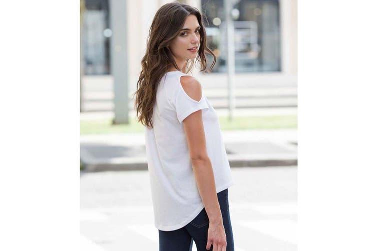 SF Womens/Ladies Plain Short Sleeve T-Shirt With Drop Detail (White) (XL)