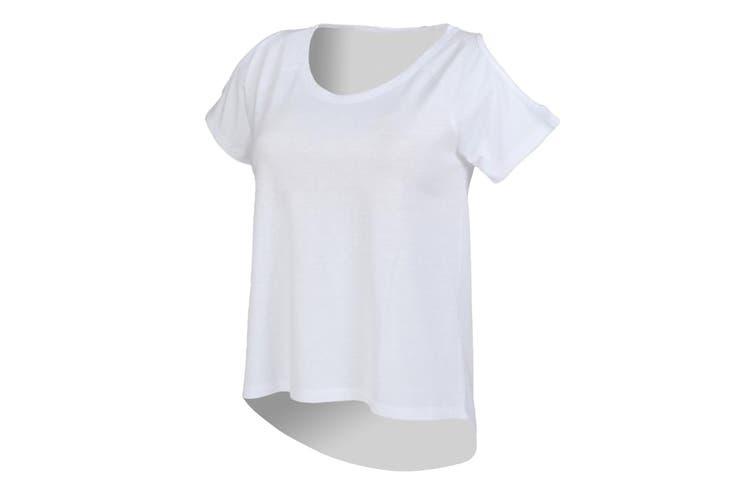 SF Womens/Ladies Plain Short Sleeve T-Shirt With Drop Detail (White) (XS)