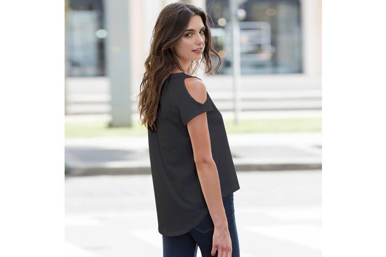 SF Womens/Ladies Plain Short Sleeve T-Shirt With Drop Detail (Black) (M)