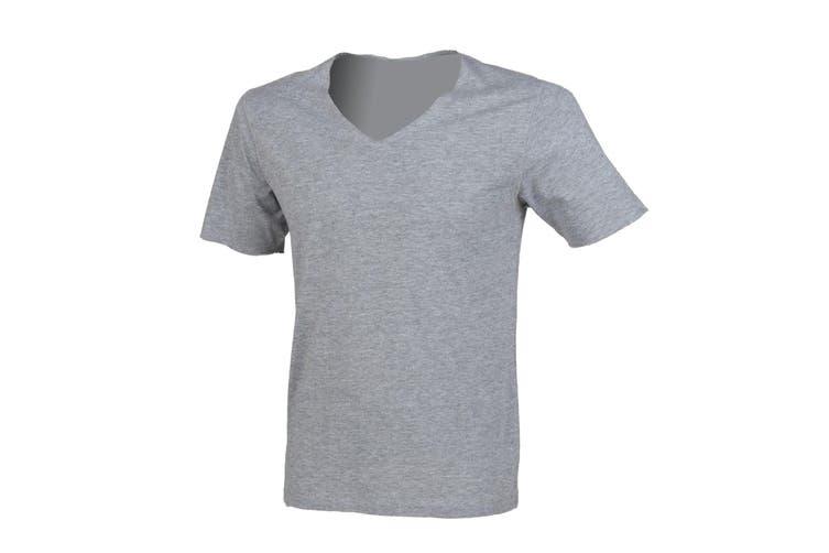 SF Men Wide V-Neck Plain T-shirt (Heather Grey) (S)