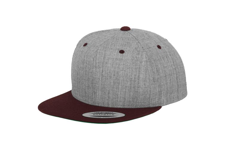 Yupoong Mens The Classic Premium Snapback 2-Tone Cap (Heather/ Maroon) (One Size)