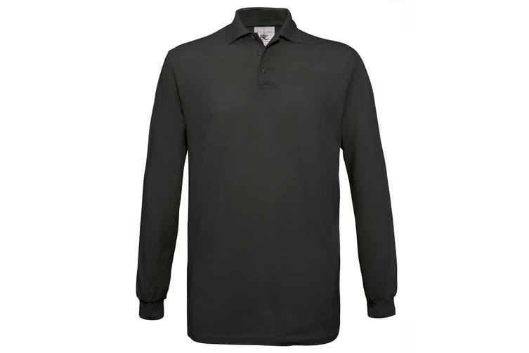 B&C Mens Safran Long Sleeve Cotton Polo Shirt (Black) (XL)