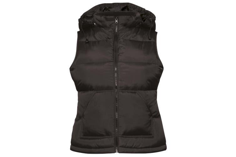 B&C Womens/Ladies Zen+ Hooded Waterproof Bodywarmer/Gilet (Black) (L)