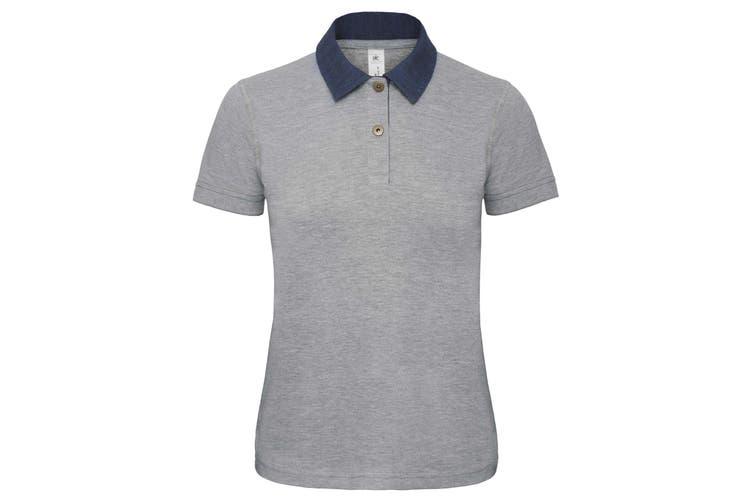 B&C Denim Womens/Ladies Forward Short Sleeve Polo Shirt (Denim/ Heather Grey) (XS)