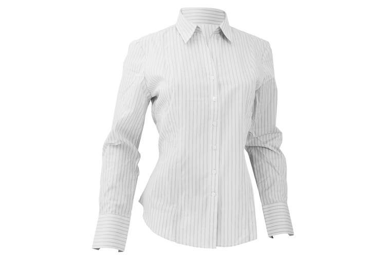 Brook Taverner Ladies/Womens Perano Long Sleeve Blouse (White/Grey Stripe) (10)