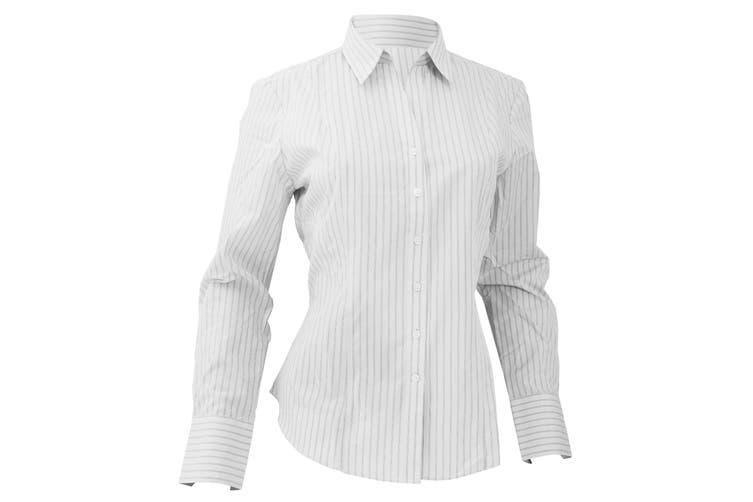 Brook Taverner Ladies/Womens Perano Long Sleeve Blouse (White/Grey Stripe) (8)