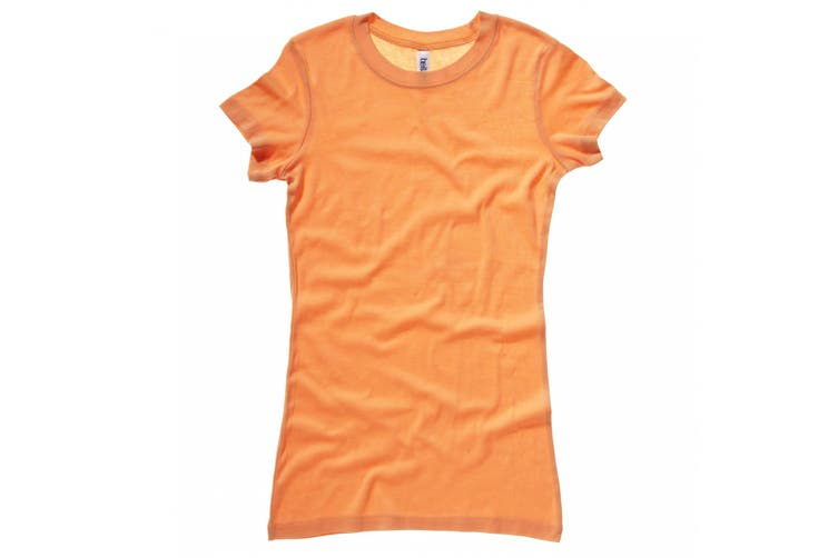 Bella + Canvas Womens/Ladies Sheer Mini Rib Crew Neck T-Shirt (Orange Sorbet) (L)