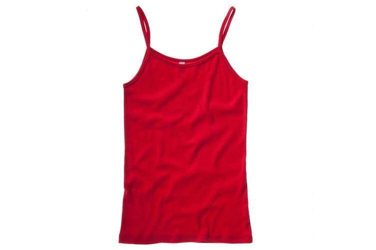 Bella + Canvas Womens/Ladies Baby Rib Spaghetti Strap Tank Vest Top (Red) (L)