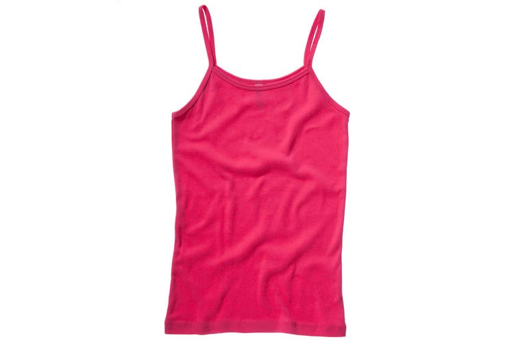Bella + Canvas Womens/Ladies Baby Rib Spaghetti Strap Tank Vest Top (Fuchsia) (L)