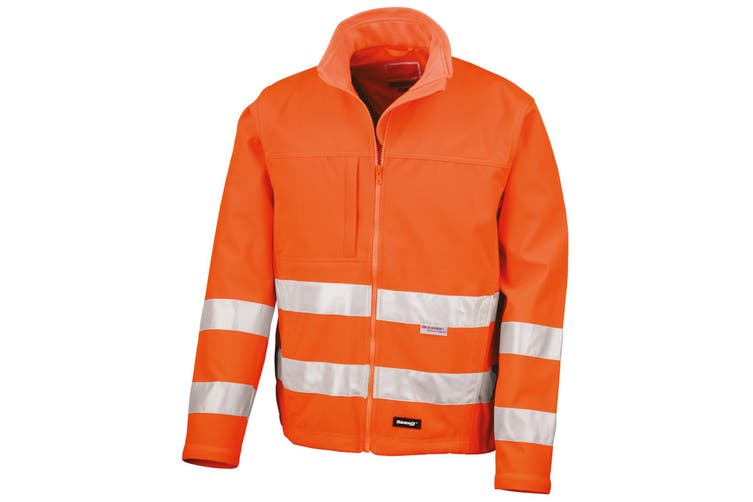 Result Core Mens High-Visibility Winter Blouson Softshell Jacket (Water Resistant & Windproof) (Fluorescent Orange) (M)