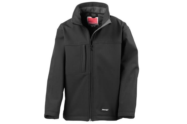 Result Childrens Unisex Waterproof Classic Softshell 3 Layer Jacket (Black) (S)