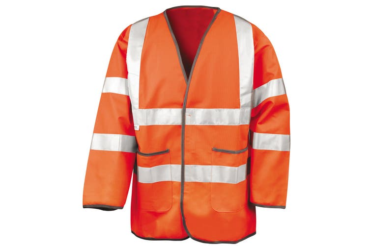 Result Mens High-Visibility Motorway Safety Jacket (EN471 Class 3 Approved) (Fluorescent Orange) (2XL)
