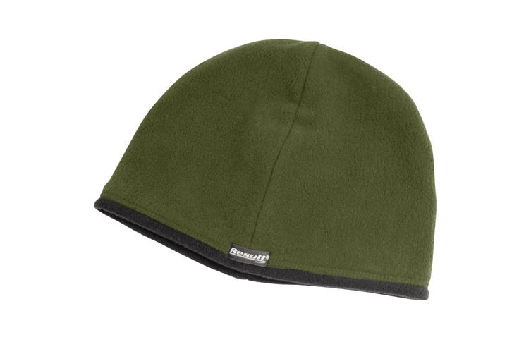 Result Unisex Winter Essentials Reversible Microfleece Bob Hat (Olive / Black) (M)