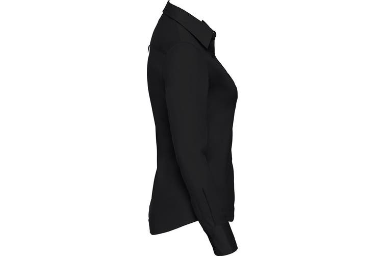 Russell Collection Womens/Ladies Long Sleeve Classic Twill Shirt (Black) (M)