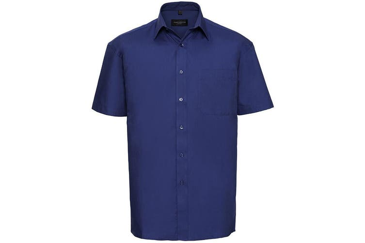 Russell Collection Mens Short Sleeve Pure Cotton Easy Care Poplin Shirt (Aztec Blue) (XL)