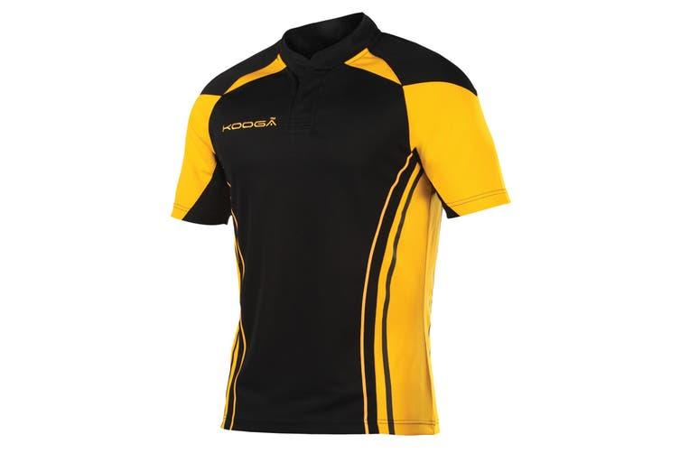 KooGa Boys Junior Stadium Match Rugby Shirt (Black/Gold) (L)