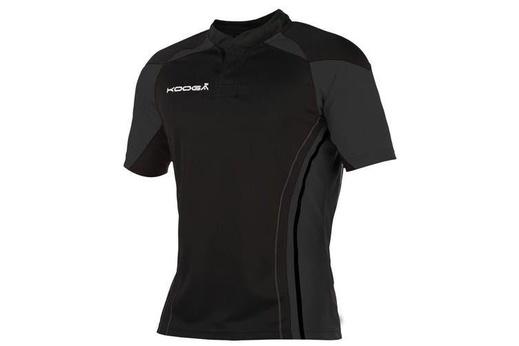 KooGa Boys Junior Stadium Match Rugby Shirt (Black/Black) (S)