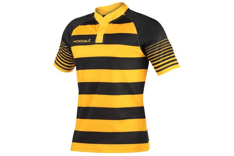KooGa Boys Junior Touchline Hooped Match Rugby Shirt (Black/Gold) (L)