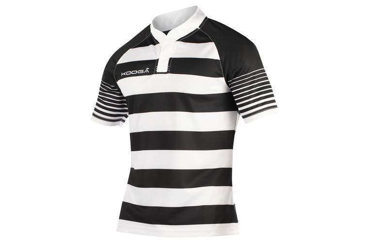 KooGa Boys Junior Touchline Hooped Match Rugby Shirt (Black/White) (L)