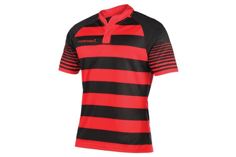 KooGa Boys Junior Touchline Hooped Match Rugby Shirt (Black/Red) (XL)