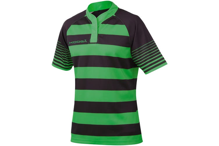 KooGa Boys Junior Touchline Hooped Match Rugby Shirt (Black / Emerald Green) (XL)