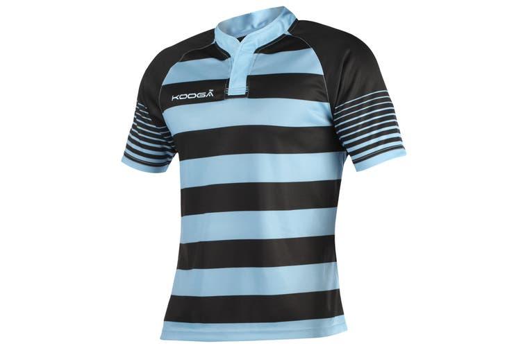 KooGa Boys Junior Touchline Hooped Match Rugby Shirt (Black/Sky) (L)