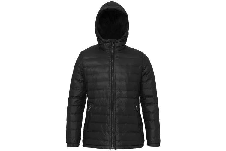 2786 Womens/Ladies Hooded Water & Wind Resistant Padded Jacket (Black/Black) (2XL)
