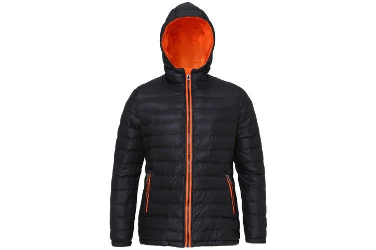 2786 Womens/Ladies Hooded Water & Wind Resistant Padded Jacket (Black/Orange) (2XL)