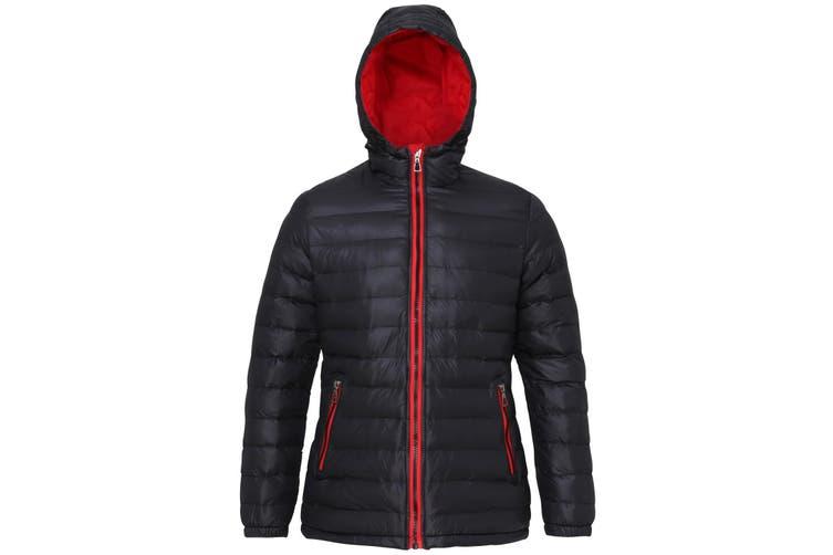 2786 Womens/Ladies Hooded Water & Wind Resistant Padded Jacket (Black/Red) (L)