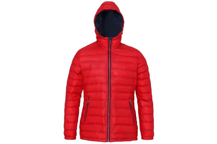 2786 Womens/Ladies Hooded Water & Wind Resistant Padded Jacket (Red/Navy) (L)