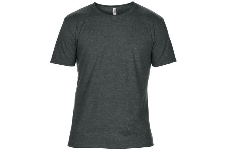 Anvil Mens Plain Short Sleeve Tri-Blend T-Shirt (Heather Dark Grey) (S)