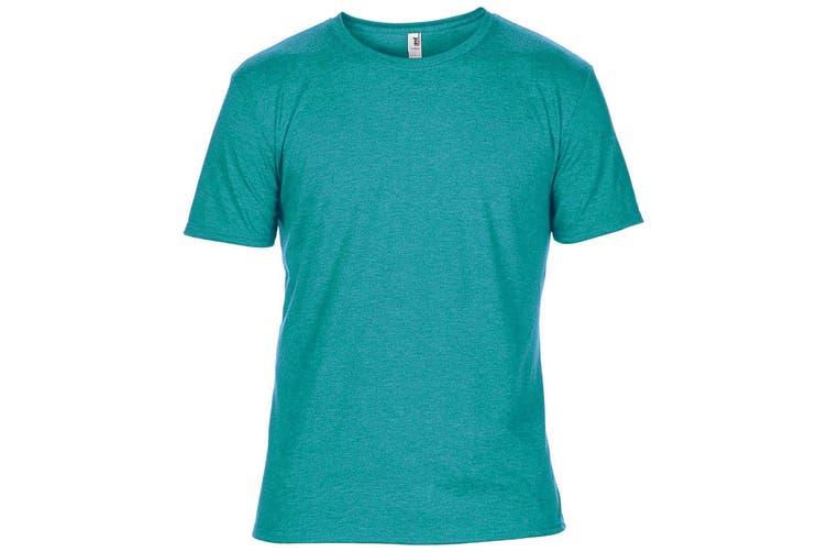 Anvil Mens Plain Short Sleeve Tri-Blend T-Shirt (Heather Caribbean Blue) (M)