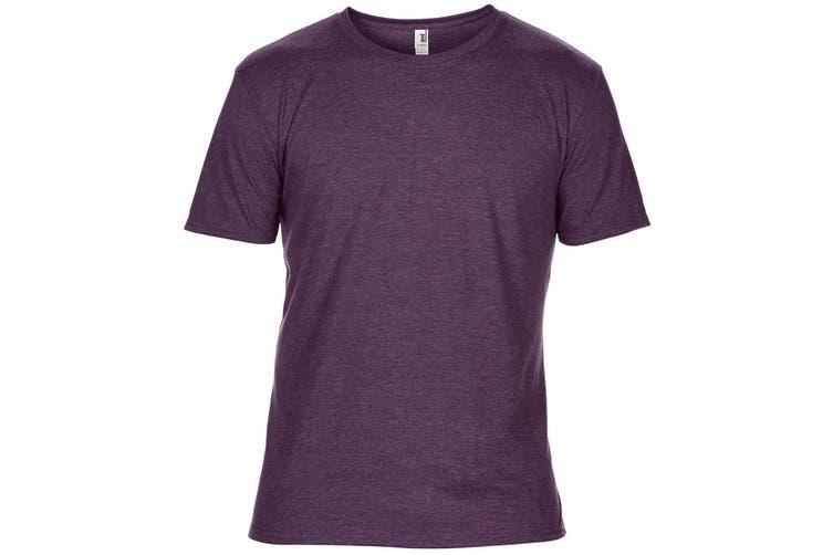 Anvil Mens Plain Short Sleeve Tri-Blend T-Shirt (Heather Aubergine) (XS)