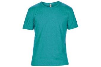 Anvil Mens Plain Short Sleeve Tri-Blend T-Shirt (Heather Caribbean Blue) (XL)