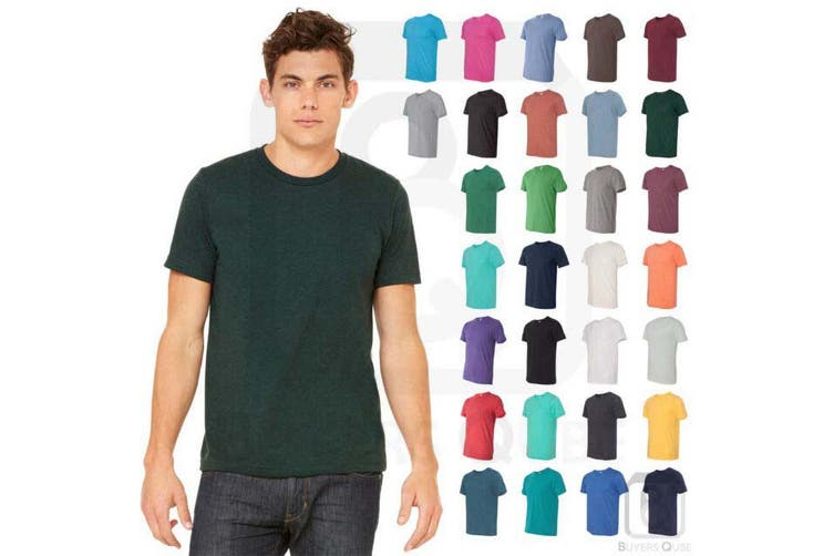 Anvil Mens Plain Short Sleeve Tri-Blend T-Shirt (Heather Dark Green) (XS)
